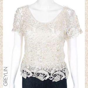 GREYLIN Cream/Silver Metallic Crochet Lace Blouse